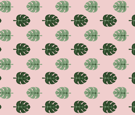 Monstera leaves pink and green fabric by bruxamagica on Spoonflower - custom fabric