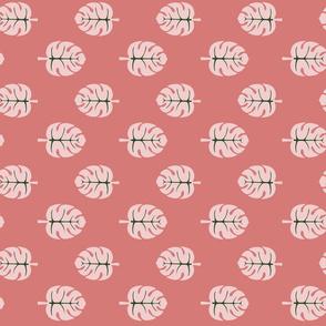 Monstera Leaves pink