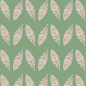 Tropical leaves green and pink