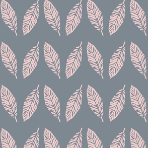 Tropical leaves grey and pink