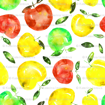 Watercolor apples, smaller scale