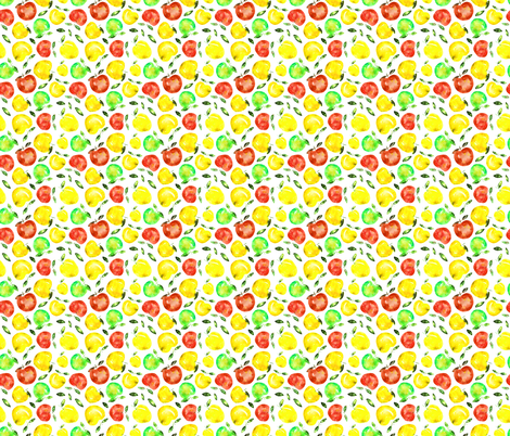 Watercolor apples, smaller scale fabric by katerinaizotova on Spoonflower - custom fabric