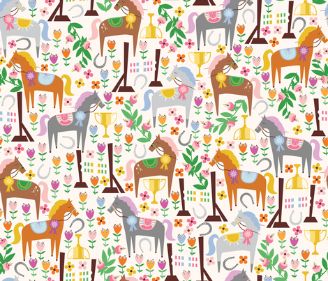 Off to the Races fabric by oliveandruby on Spoonflower - custom fabric
