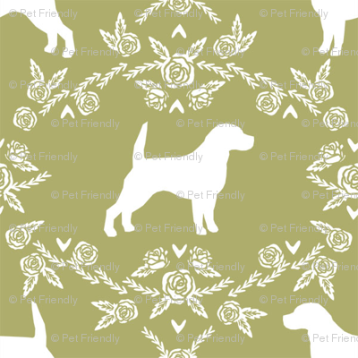 beagle  pet quilt d dog breed fabric coordinate silhouette floral