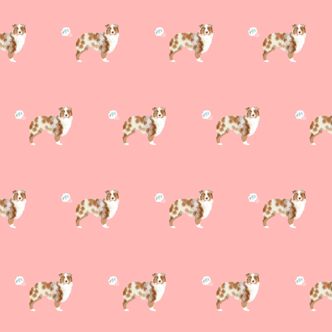 australian shepherd red merle dog fart funny cute dog breed pink  fabric by petfriendly on Spoonflower - custom fabric