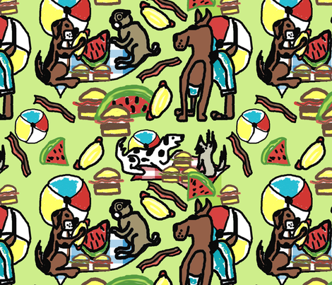Dogs Picnic work 2 green fabric by lorloves_design on Spoonflower - custom fabric