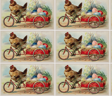Vintage Easter Bicycle Hen fabric by angelandspot on Spoonflower - custom fabric