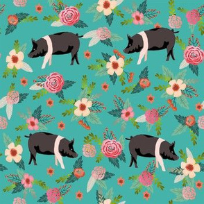 hampshire pig floral fabric - simple layout - turquoise