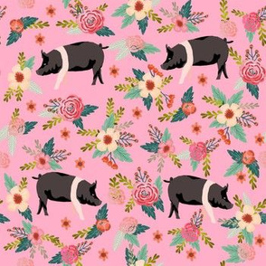 hampshire pig floral fabric - simple layout - pink