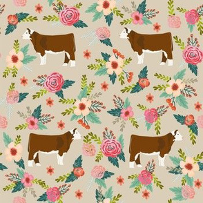 hereford floral fabric - simple layout - tan