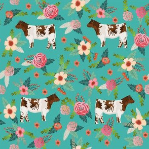 shorthorn floral fabric - simple layout - turquoise