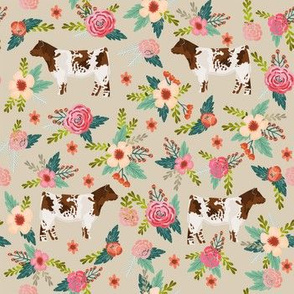 shorthorn floral fabric - simple layout - tan