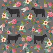 steer floral fabric - simple layout - charcoal