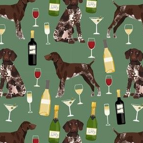 german shorthaired pointer dog fabric - german shorthaired wine, champagne, bubbly, fabric - dark green
