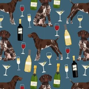 german shorthaired pointer dog fabric - german shorthaired wine, champagne, bubbly, fabric - dark blue