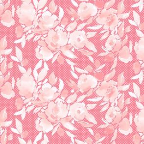 Watercolor Floral Dot Monochromatic Pink