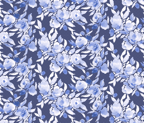 Watercolor Floral Dot Monochrome Blue fabric by mjmstudio on Spoonflower - custom fabric