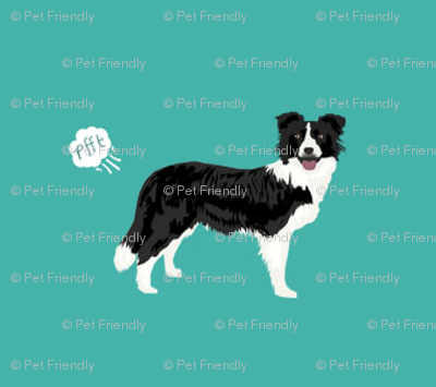 Border Collie Dog Fabric Fart Funny Cute Pure Breed Sewing