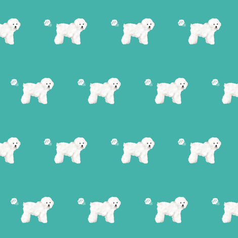 bichon dog fabric fart funny cute pure breed sewing projects teal fabric by petfriendly on Spoonflower - custom fabric