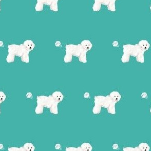 bichon dog fabric fart funny cute pure breed sewing projects teal