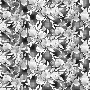 Watercolor Floral Dot Greyscale