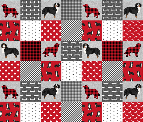bernese mountain dog pet quilt a cheater quilt dog wholecloth fabric fabric by petfriendly on Spoonflower - custom fabric