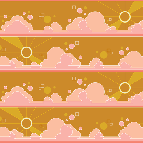 Cloud 9* (Gold Seal) || clouds sky polka dots Art Deco pop sunset sunrise sun rays mustard fabric by pennycandy on Spoonflower - custom fabric