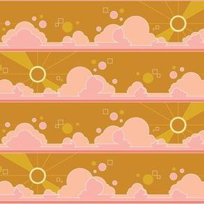 Cloud 9* (Gold Seal) || clouds sky polka dots Art Deco pop sunset sunrise sun rays mustard