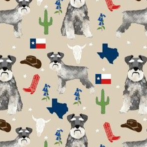 schnauzers in Texas fabric - dogs in texas, lone star state, cactus, cowboy design - tan