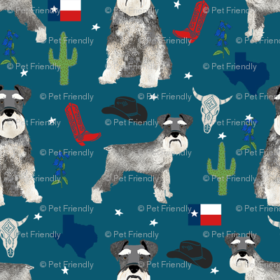 schnauzers in Texas fabric - dogs in texas, lone star state, cactus, cowboy design - blue