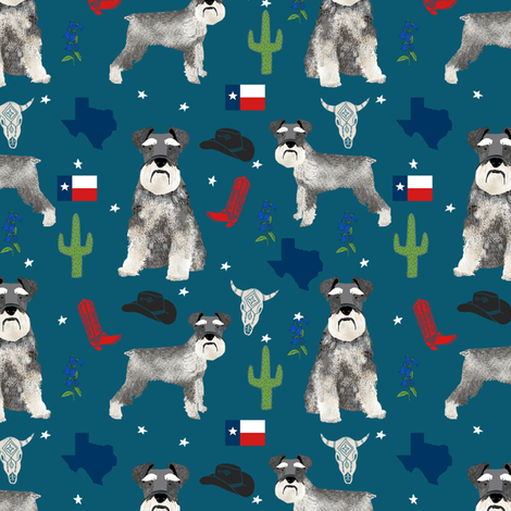 schnauzers in Texas fabric - dogs in texas, lone star state, cactus, cowboy design - blue fabric by petfriendly on Spoonflower - custom fabric