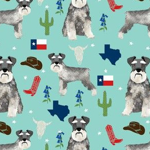 schnauzers in Texas fabric - dogs in texas, lone star state, cactus, cowboy design - light