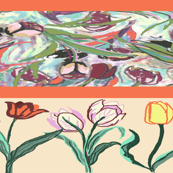 Tulips Tossed Borders exlg peach stripes