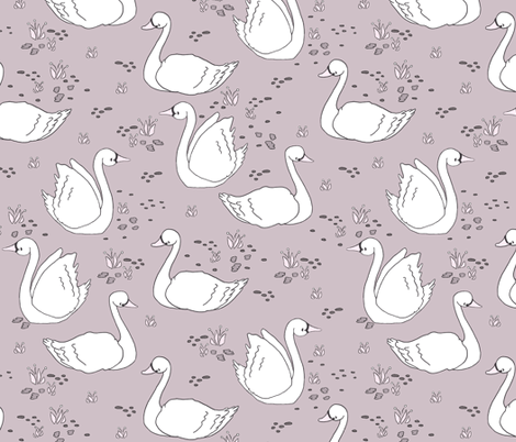 Swan Summer // by Sweet Melody Designs fabric by sweetmelodydesigns on Spoonflower - custom fabric