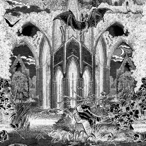 Gothic Vampires Gothic vampires crypt with graves, bats, skulls pattern