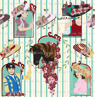 Victorian Beauty, Off to the Races, Kentucky Derby, Horse, Jockey, Victorian, Hats, Roses, Stripes, Womens Large Hats