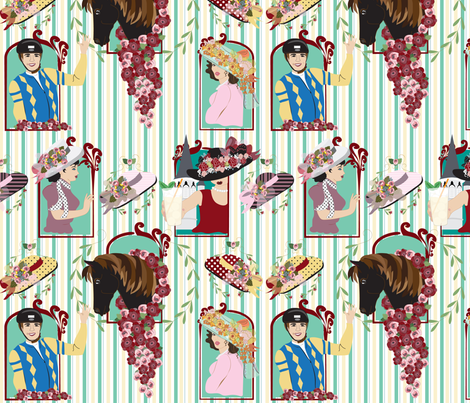 Victorian Beauty, Off to the Races, Kentucky Derby, Horse, Jockey, Victorian, Hats, Roses, Stripes, Womens Large Hats fabric by applebutterpattycake on Spoonflower - custom fabric