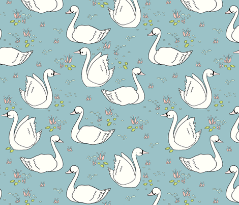 Swan Summer - Teal // by Sweet Melody Designs fabric by sweetmelodydesigns on Spoonflower - custom fabric