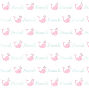 bitty whale splash 493 - pink sea text PERSONALIZED Hannah