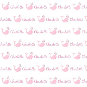 bitty whale splash 493 - pink pink text PERSONALIZED Charlotte