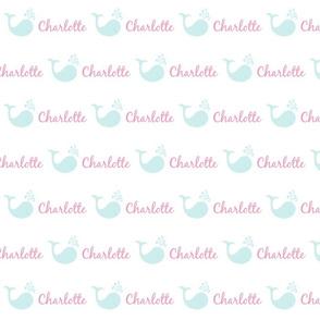 bitty whale splash 493 - sea pink text PERSONALIZED Charlotte