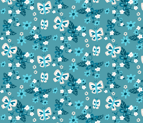 Floral Flutterby Blues fabric by franbail on Spoonflower - custom fabric