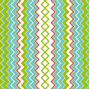 Narrow Seaside Stripes in turquoise, coral, green, white
