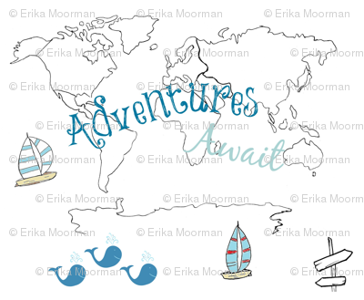 map - Adventure 2 blue 84 -black and white boats