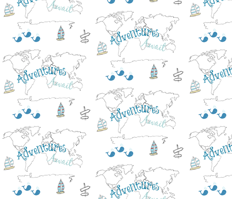 map - Adventure 2 blue 84 -black and white boats fabric by drapestudio on Spoonflower - custom fabric