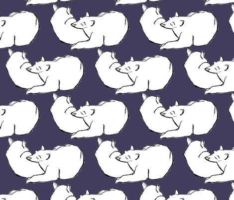 Bear Nap in White & Midnight Plum fabric by dreneewilson on Spoonflower - custom fabric