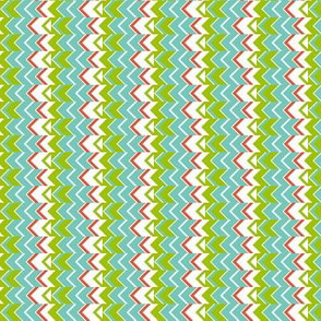 Mini Narrow  Zipper Stripes in turquoise, green, coral, white