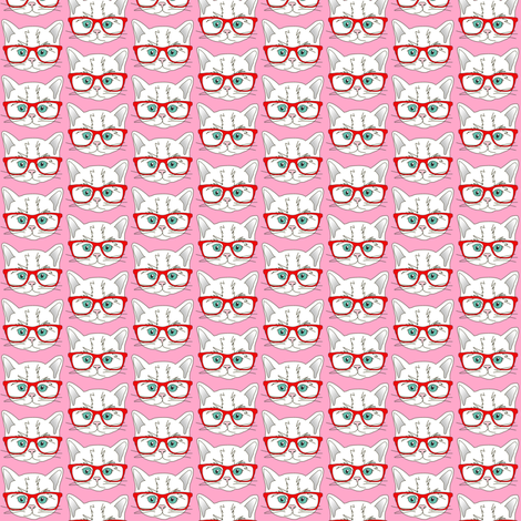 Kitten Hipster Pink Small fabric by curious_nook on Spoonflower - custom fabric