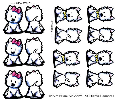 KiniArt™ Westie Doll Panel Set  fabric by kiniart on Spoonflower - custom fabric