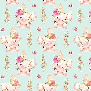 Miss Piglet - Baby Girl Pig with Flowers & Apples, Soft Mint